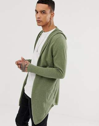 Asos Hooded Open Front Cardigan With Curved Hem In Khaki