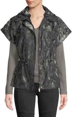 Laundry by Shelli Segal Short-Sleeve Toggle-Waist Jacquard Jacket