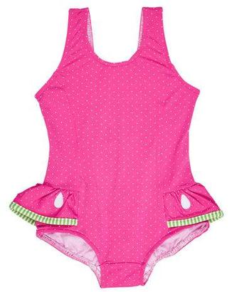 Florence Eiseman Skirted Polka-Dot One-Piece Watermelon Swimsuit, Pink, Size 6-24 Months $74 thestylecure.com