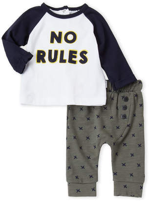 Petit Lem Newborn Boys) Two-Piece No Rules Tee & X-Print Joggers Set