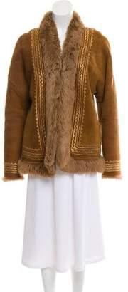 Max Mara Embroidered Shearling Jacket