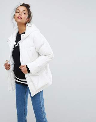 Asos Design Puffer Jacket With Pocket Detail