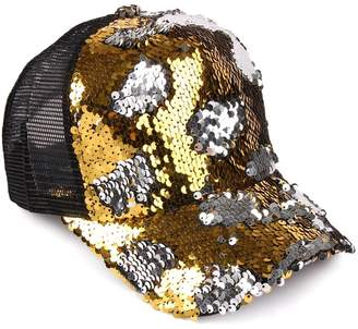 Riah Fashion Two-Tone-Sequin Baseball Cap