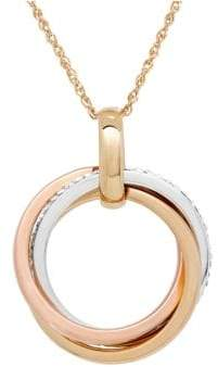 Lord & Taylor 14K Gold Triple Circle Pendant Necklace