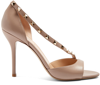 VALENTINO Rockstud asymmetric-strap leather sandals $845 thestylecure.com