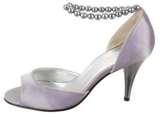 Chanel Embellished Peep-Toe Pumps