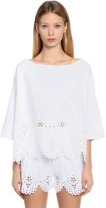 Ermanno Scervino Embroidered Cotton Blend Poplin Top