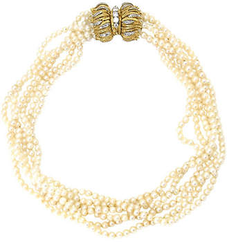 One Kings Lane Vintage 18K Gold - Diamond & Pearl Necklace - Owl's Roost Antiques