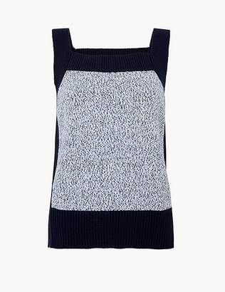 Marks and Spencer Pure Cotton Colour Block Knitted Vest