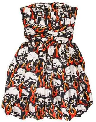 Jeremy Scott Strapless Printed Mini Dress