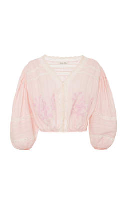 LoveShackFancy Florence Floral Embroidered Top