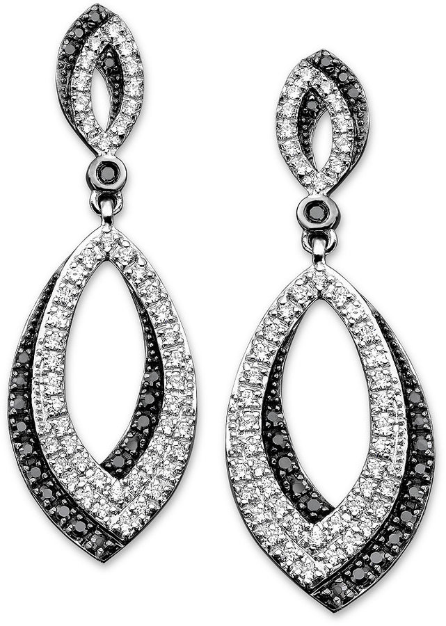 Black and White Diamond Oval Earrings in Sterling Silver (3/4 ct. t.w.)