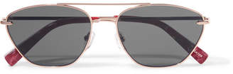 Elizabeth and James Johnson Aviator-style Rose Gold-tone Sunglasses - Pink