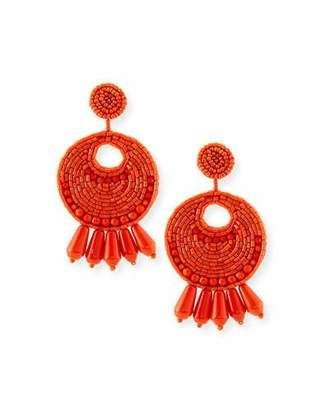 Kenneth Jay Lane Seed-Bead Tassel Clip Earrings, Coral