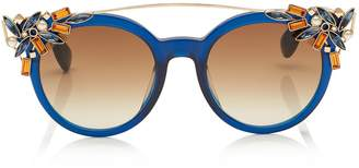 Jimmy Choo VIVY Blue and Gold Round Framed Sunglasses with Detachable Jewel Clip On