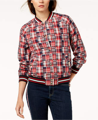 Tommy Hilfiger Cotton Patchwork Plaid Varsity Jacket, Created for Macy's