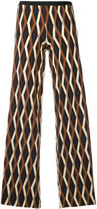 Siyu geometric print straight trousers
