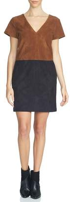 1 STATE 1.State Faux Suede Colorblock Shift Dress