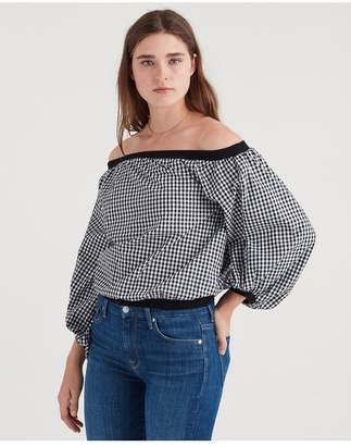 7 For All Mankind Off Shoulder Blouson Top In Black And White