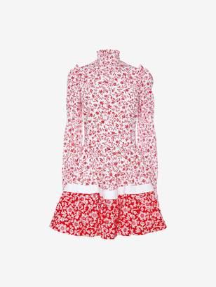 Alexander McQueen Victorian Floral Poplin Mini Dress