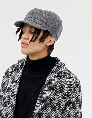 174163f0 Asos Design DESIGN baker boy hat in oversized black herringbone