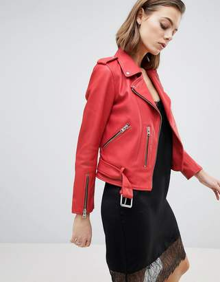 AllSaints Belted Leather Jacket