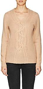 Barneys New York WOMEN'S CABLE-KNIT CASHMERE SWEATER - BEIGE/TAN SIZE L