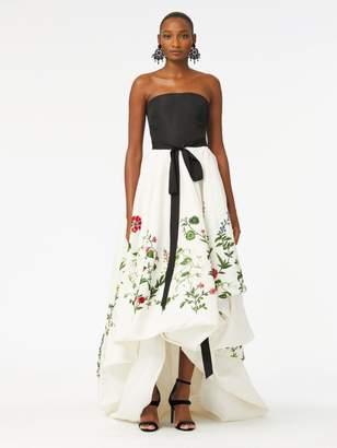 Oscar de la Renta Botanical Garden Embroidered Silk-Faille Gown