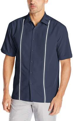 Cubavera Cuba Vera Men's Contrast Insert and Stitching Short Sleeve Woven Shirt