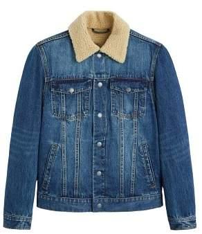 MANGO Faux shearling lining denim jacket