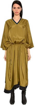Oversized Draped Satin Dress