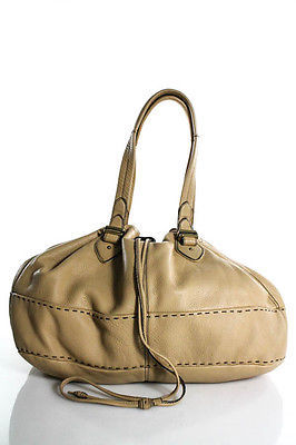 Cole Haan Cole Haan Beige Pebbled Leather Drawstring Closure Knit Stitching Trim Shoulder