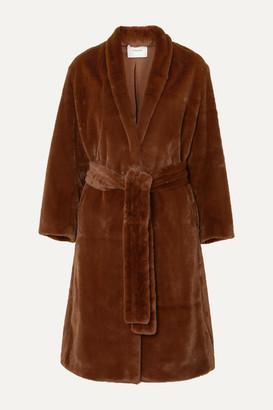 Vince Belted Faux Fur Coat - Brown