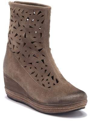 Antelope Lasercut Leather Wedge Boot