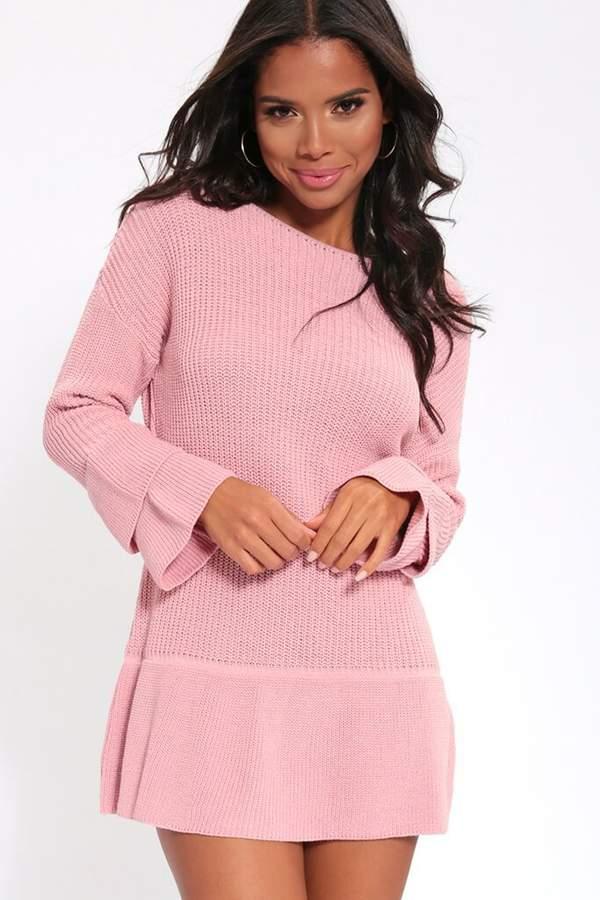 Isawitfirst Pink Slash Neck Jumper Dress