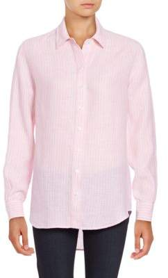 Lord & Taylor Long Sleeve Striped Linen Shirt $68 thestylecure.com