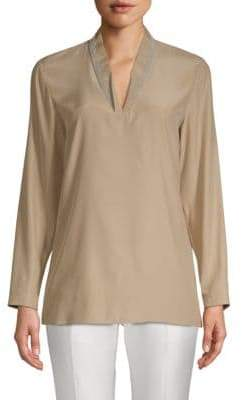 Lafayette 148 New York Adri Long-Sleeve Silk Blouse
