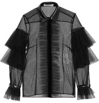 Philosophy di Lorenzo Serafini Faux Leather-trimmed Swiss-dot Tulle And Lace Blouse - Black