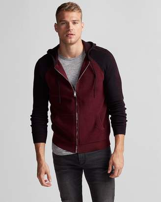 Express Mixed Stitch Cotton Hooded Sweater