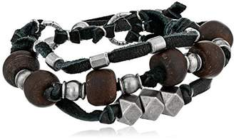 Ettika Men's Black 3 Strand Leather Bracelet Colored Bodhi Seed and Metal Beads