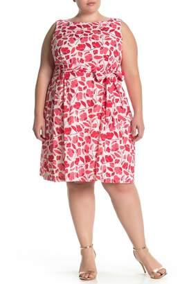 Anne Klein Floral Print Waist Tie Woven Dress (Plus Size)