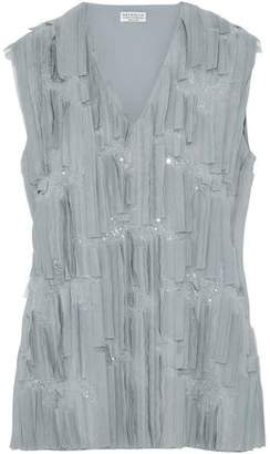 Brunello Cucinelli Sequin And Tulle-Embellished Silk-Blend Top
