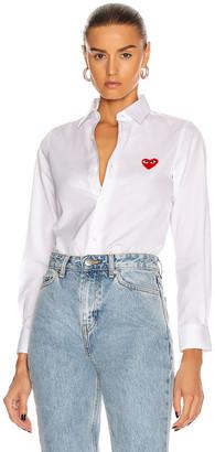 Comme des Garcons Cotton Button Down with Red Emblem