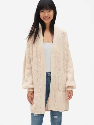 Gap Brushed Pointelle Open-Front Cardigan Sweater