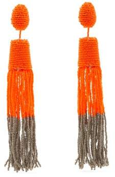 Vanda Jacintho - Beaded Drop And Tassel Earrings - Womens - Orange Multi