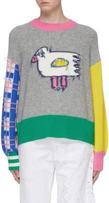 Mira Mikati Bird intarsia colourblock inside-out sweater
