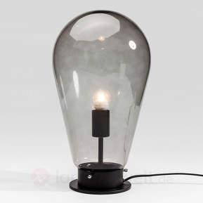 Graue Glastischlampe Bulb mit schwarzem Fuß