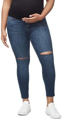 Good American Home Stretch Crop Skinny Maternity Jeans in Blue306