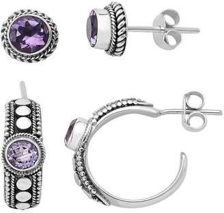 Samuel B. Sterling Silver Round Purple Amethyst Hoop & Stud Earrings Set