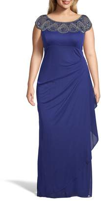 Xscape Evenings Beaded Neck Empire Gown